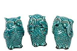 Urban Trends Ceramic Owl Assortment of Three Antique, Turquoise