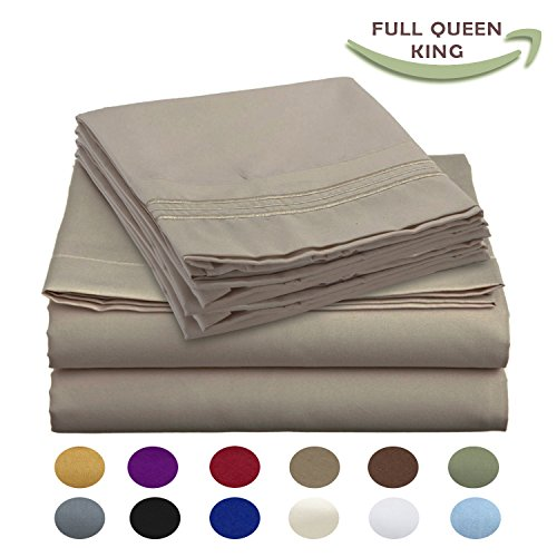 Luxury Egyptian Comfort Wrinkle Free 1800 Thread Count 6 Piece King Size Sheet Set, BEIGE Color, 2 Bonus Pillowcases FREE! (King Bed Sheets Egyptian Cotton compare prices)
