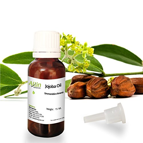 Allin Exporters Jojoba Oil - 15 ML - 100% Pure Virgin Cold Pressed Unrefined Organic Jojoba Oil - Exceptional Moisturizer for Face, Skin, Hair & Nails - Perfect for Sensitive & Dry Skin - Enriched in Fatty Acids, Vitamins C and E