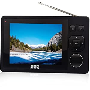 August DTV310 3.5'' Pocket Digital Freeview TV and Digital Radio with Built-in Rechargeable Battery for up to 5 Hours Play back and reception at motorway speeds
