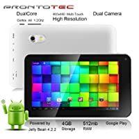 Prontotec 7 Inch Android Tablet Pc,Dual Core 1.2 Ghz, Android 4.2.2, 4g Rom, Ddr3 512m Ram, Dual Cameras, Standard USB Port, Wi-fi, G-sensor (White) by ProntoTec