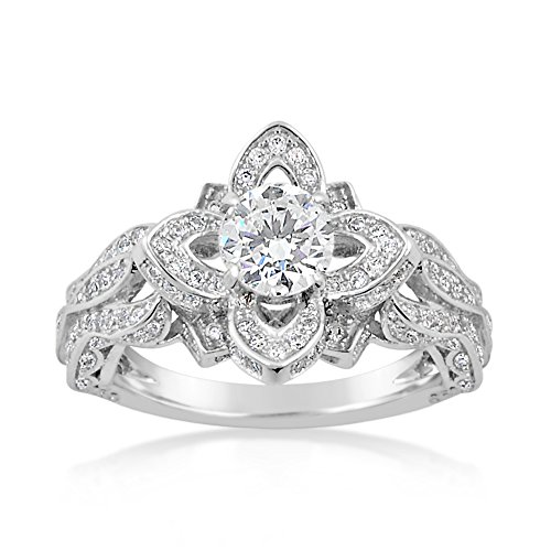 925 Sterling Silver Round CZ with Surrounding Stones in Flower Petals, Engagement Ring, Thicker Band (9) (Cz Flower Ring compare prices)