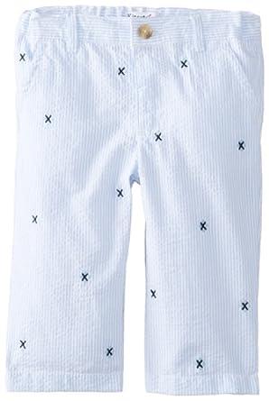Kitestrings Baby-Boys Newborn Baby Boy Embroidered Cotton Seersucker Pant, Blue/White Stripe, 6-9 Months