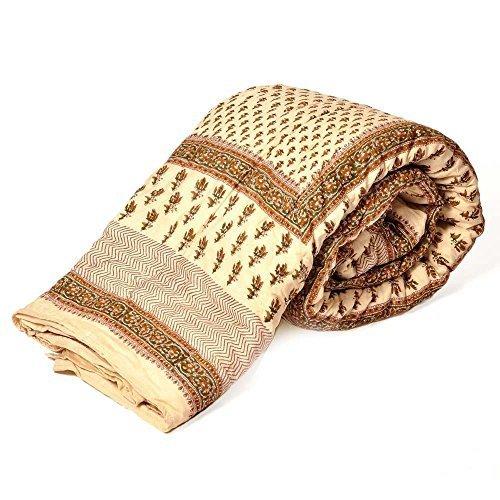 Rajastán Little India bloque de cama doble de algodón con impresiones de verde