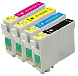 1 Full Set : 4 High Capacity Compatible Ink Cartridges Multipack T555 - T551 Black T552 Cyan T0553 Magenta T0554 Yellow for Epson Stylus Photo inkjrt Printers R240 R245 RX420 RX425 RX450 RX520