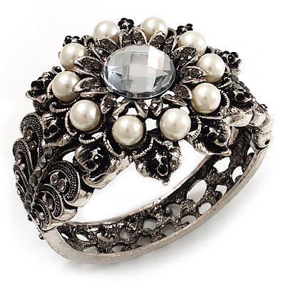 Vintage Pearl Style Rose Hinged Bangle Bracelet (Burn Silver)