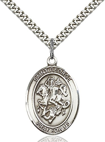 Large Detailed Men'S .925 Sterling Silver Saint St St. George Medal Pendant 1 X 3/4 Inches Boy Scouts/Soldiers-7040- Comes With A Stainless Silver Heavy Curb Chain Neckace And A Black Velvet Box