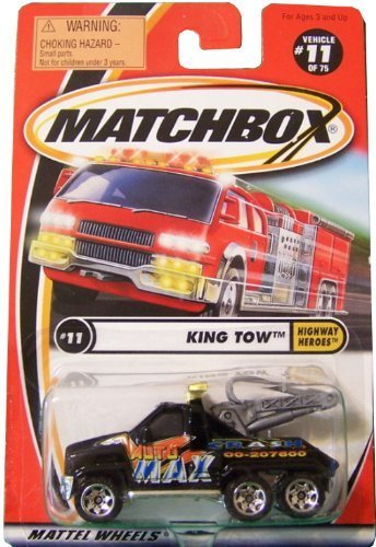 GMC Wrecker King Tow Truck Matchbox 2000 Highway Heroes Series #11 of 75 Black 1:64 Scale Collectible Die Cast Car (Gmc Truck Scale compare prices)