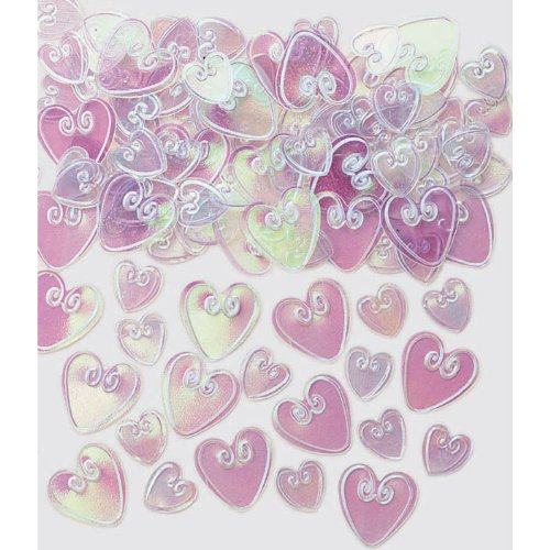 BAG OF IRRIDESCENT HEART SHAPED TABLE CONFETTI 14G