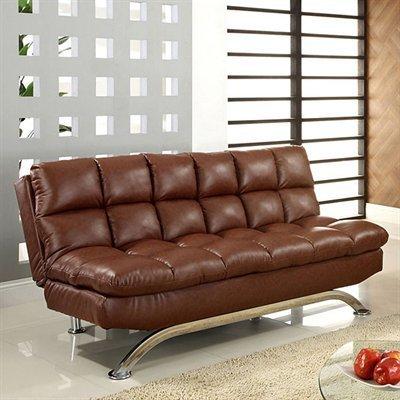Futon Sofa in Saddle Brown Finish by Furniture of America