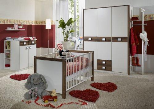 Babyzimmer »EMMA« 6-tlg in alpinweiß - Nussbaum Dekor