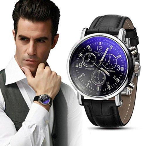 Bessky Herren-Uhr ,Herren Armbanduhr , Luxusmode Kunstleder Herren blauer Strahl Glas Quartz Analog Uhren