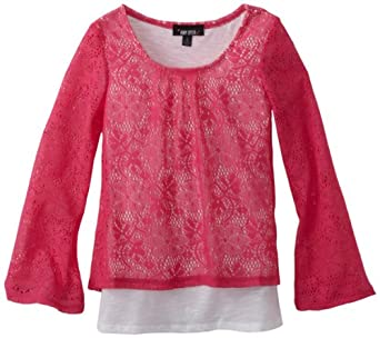 Amy Byer Girls 7-16 2fer Lace Popover Top, Pink, Medium
