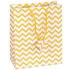 10 pcs Small Chevron Yellow Glossy Shopping Paper Gift Sales Tote Bags with Blank Message Tag 4 x 2.75 x 4.25