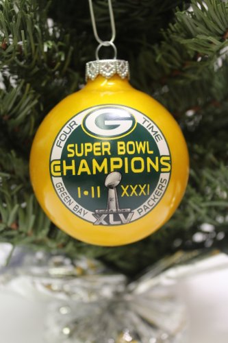 "Green Bay Packers NFL ""4 TIMES SUPER BOWL CHAMPIONS"" Traditional 2 3/4″ Glass Christmas Ornament- Yellow"