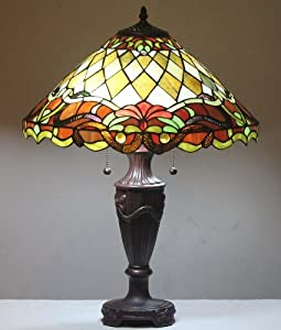 tiffany style stained glass table lamp parisian w 18. Black Bedroom Furniture Sets. Home Design Ideas