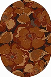 Surya ATH-5102 Athena Transitional Floral Oval Mocha 8\' x 10\' Oval Area Rug