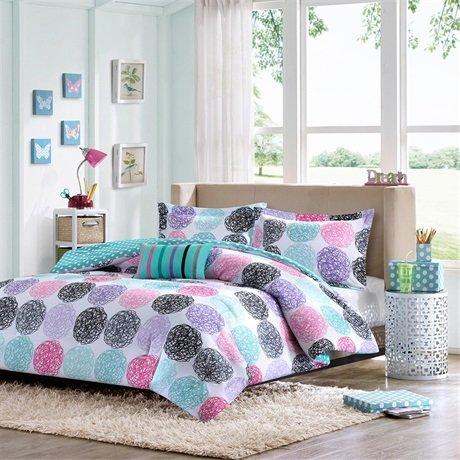 Girls polka dot bedding - Purple and pink comforter sets ...