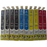 10 komp. XL Druckerpatronen für Epson WorkForce WF2010 WF2510 WF2520 WF2530 WF2540 WF2630 WF2650D WF2660 Epson 1631 1632 1633 1634 bekommen 4 x Schwarz 2 x Blau 2 x Rot 2 x Gelb