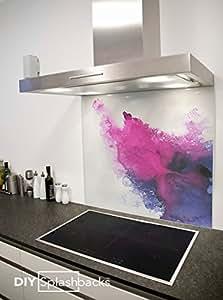 Cr dence de cuisine en verre imprim aquarelle violette 90cm x 75cm colle inclus for Credence violette