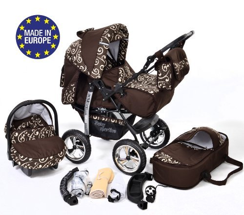 3-in-1 Travel System with Baby Pram, Car Seat, Pushchair & Accessories, Brown & Wawy Lines
