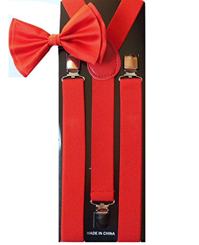 Men's Unisex Awesome RED Suspenders And Matching Bowtie Set - Adjustable