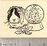 Christmas Guinea Pig w/ Snow Globe Rubber Stamp