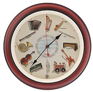 musical instruments wall clock