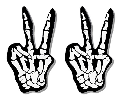 Hot Leathers, 2 x TWO FINGERS BONES - Small, Bikers Motorcycle Helmet, Sticker DECAL (Pair) - 3""