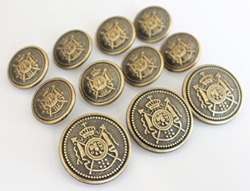 YCEE 11 Piece Vintage Antique Brass (Bronze) Metal Blazer Button Set (Weighty) - King's Crowned, Spears and Phoenix Crest - For Blazer, Suits, Sport Coat, Uniform, Jacket (Vintage Pieces compare prices)