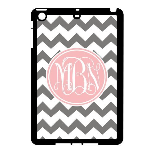 Monogram Personalized Grey And White Chevron Pattern With Cursive Initials Apple Ipad Mini Rubber+Plastic Case/Cover New Fashion, Best Gift front-64952