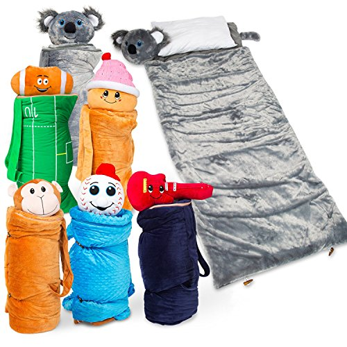 SUPER-FUN-UNIQUE-Sleeping-BagOvernight-Travel-Kit-For-Kids-BuddyBagzs-All-in-1-Traveling-Made-Easy-Solution-Complete-W-Stuffed-Animal-Pillow-Sleeping-Bag-Toiletry-Overnight-Bag