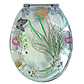Trimmer Butterflies and Flowers Toilet Seat - Clear (Standard)