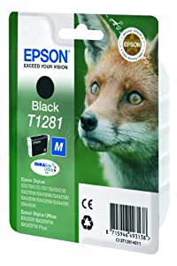 Epson Originale C13T12814011 Cartuccia Inkjet Ink Pigmentato Blister RS Volpe-M T1281, Nero