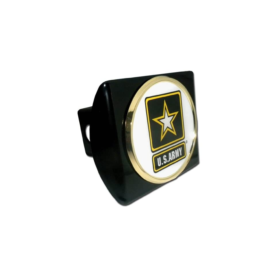 US Army Black Metal Trailer Hitch Cover with White Star Metal Logo
