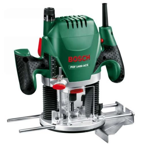 Bosch DIY Oberfräse POF 1400 ACE (3 x Spannzange, Fräser, Parallelanschlag, Absaugadapter, Koffer (1400 W))