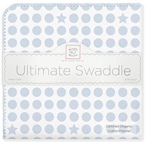 SwaddleDesigns Organic Ultimate Receiving Blanket, Dots and Stars, Pastel Blue