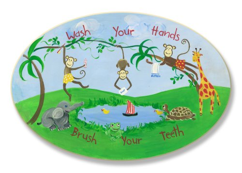 The Kids Room by Stupell Wash Your Hands, Brush Your Teeth Monkeys at the Watering Hole Oval Wall Plaque