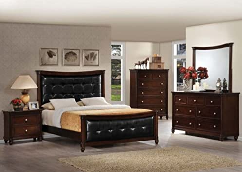 Amazing Acme Q Amaryllis Traditional Black Leather Headboard With Cherry Wood Finish And Matching Case Goods Bedroom
