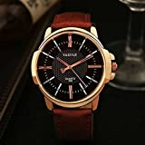 Unique Analog Business Casual Fashion Wristwatch,Watches with Comfortable PU Leather Band (Black Dial—Brown Band)