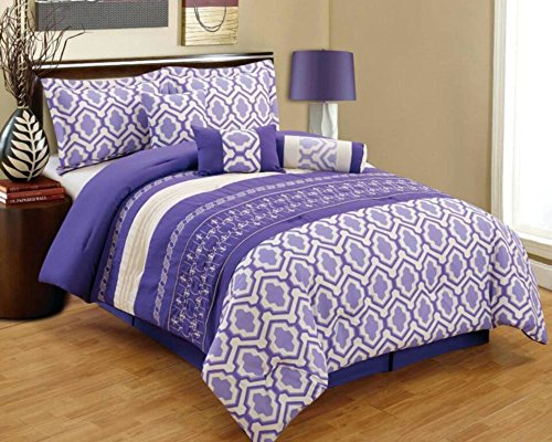 Purple And White And Grey Quilted Comforter Set Purple