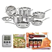 Cuisinart MCP-12N MultiClad Pro Stainless Steel 12-Piece Cookware Set with Mini Measuring Spoons Spice Set 100-Minute Timer and Not Your Mothers Weeknight Cooking