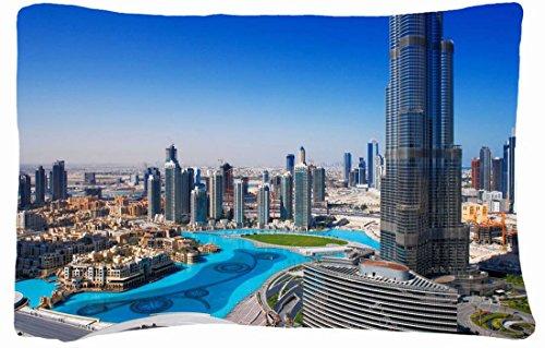 Microfiber Peach Queen Size Decorative Pillowcase -City City Cities Dubai Burg Califa Dubai Panorama High Rise Home Fountain. front-852557