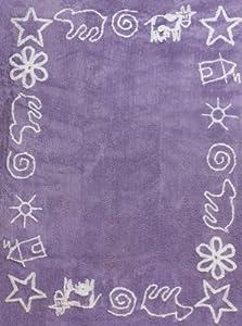 Aratextil. Alfombra Infantil 100% Algodón lavable en lavadora Colección Prado lila 120x160 cms en Bebe Hogar