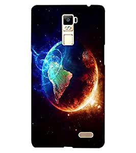 ColourCraft Fire and Ice Galaxy Design Back Case Cover for OPPO R7