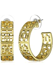 "Trina Turk ""Palm Springs Classics"" Brick Gold Hoop Earrings"
