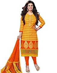 DivyaEmporio Women's Cotton Resham Salwar Suit Dupatta Unstitched Dress Material (Orange_Free Size)