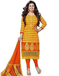 DivyaEmporio Women's Cotton Resham Salwar Suit Dupatta Unstitched Dress Material (Orange_Free Size)