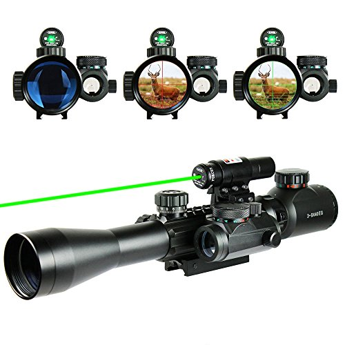 UUQ Combo 3-9x40mm Clarity+ Tactical Illuminated Rifle Scope with GREEN Laser and Red Dot Sight of Red / Green Reticle Mount (Military Red Laser compare prices)