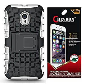 Chevron Hybrid Military Grade Armor Kick Stand Back Cover Case for Moto G Turbo Edition with HD Screen Guard (White)